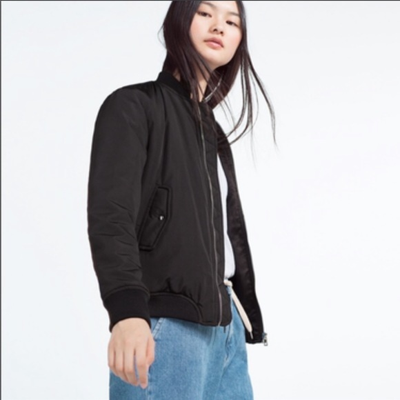Zara Black Bomber Jacket Size: S